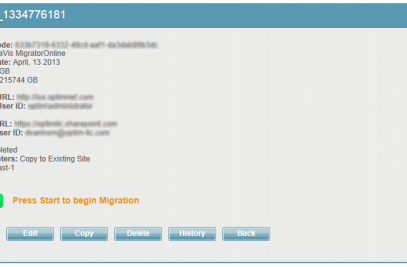 Completed job screen for MetaVis Online SharePoint migration
