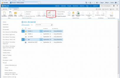 Information Manager for Office 365 Ribbon Integration