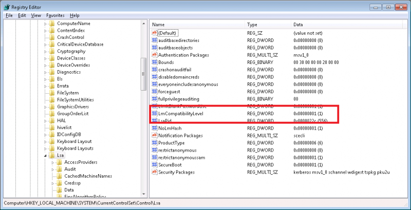 Registry Editor with Local Security Compatibility Level Settings Set